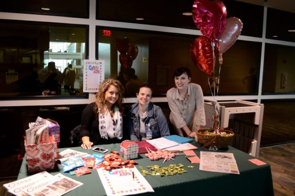Tabling to sell candy grams for the Valentine's Day issue of the newspaper!