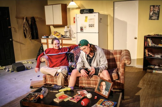 "Left to Right: Nora Bingham and Kate Healy in First Floor Theater's ""Matt & Ben,"" written by Mindy Kaling and Brenda Withers, and directed by Amanda Fink. Courtesy of First Floor Theater."